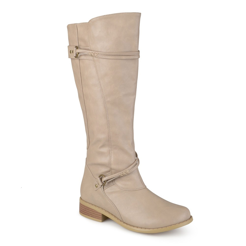 Womens Journee Collection Wide Calf Ankle Strap Buckle Knee-High Riding Boots - Stone (Grey) 10W, Size: 10 Wide Calf