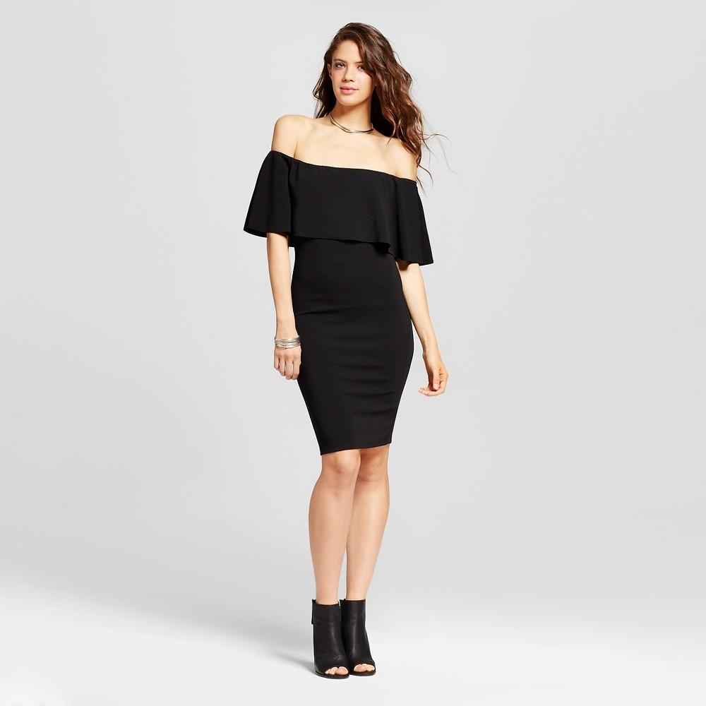 Womens Off the Shoulder Flounce Bodycon Dress - Almost Famous (Juniors) Black M
