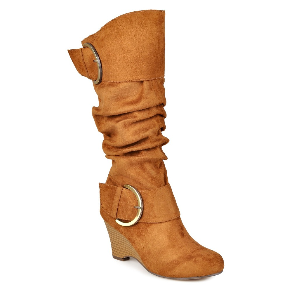 Womens Journee Collection Extra Wide Calf Buckle Slouch Wedge Knee-High Boots - Dark Chestnut 8 Extra Wide Calf