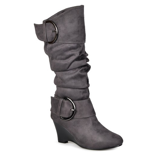 Women's Journee Collection Extra Wide Calf Buckle Slouch Wedge ...