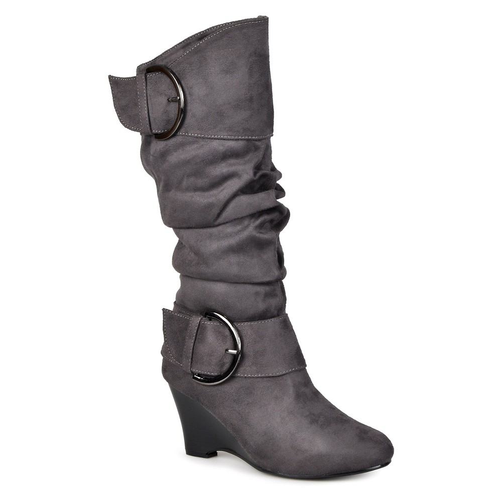 Womens Journee Collection Extra Wide Calf Buckle Slouch Wedge Knee-High Boots - Gray 8 Extra Wide Calf