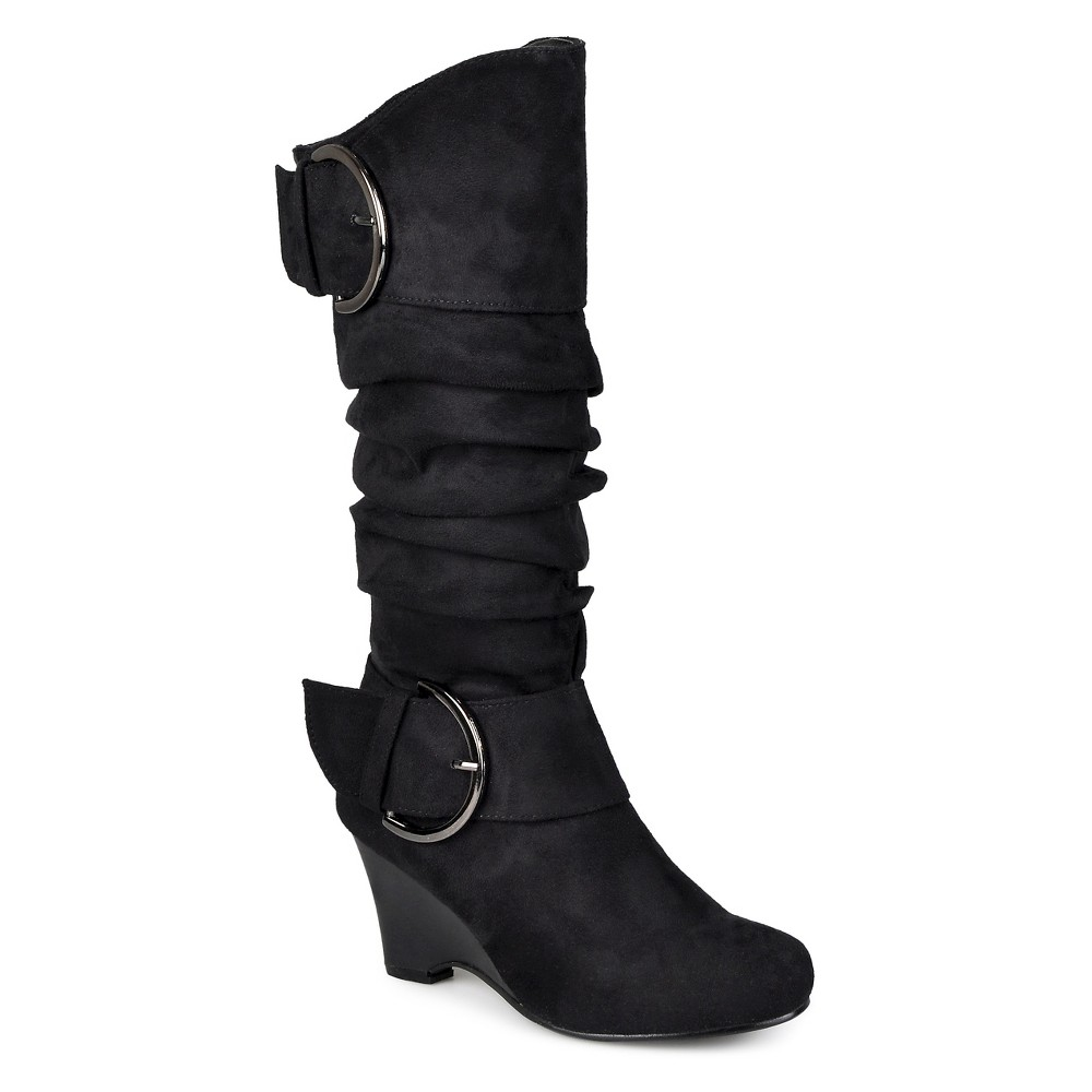 Women's Journee Collection Buckle Slouch Wedge Knee-High Boots – Black 9.5W, Size: 9.5 Wide Calf