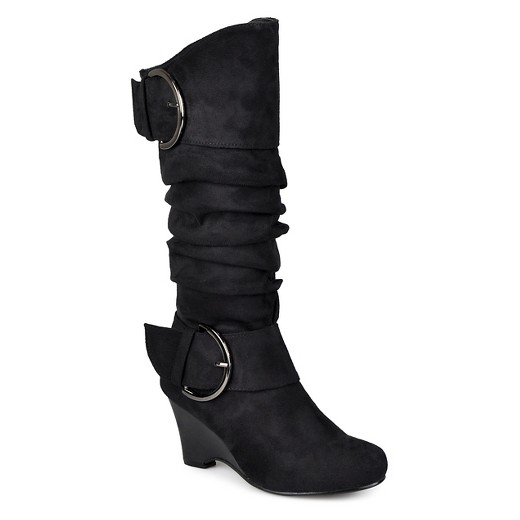 Women's Journee Collection Wide Calf Buckle Slouch Wedge Knee-High ...