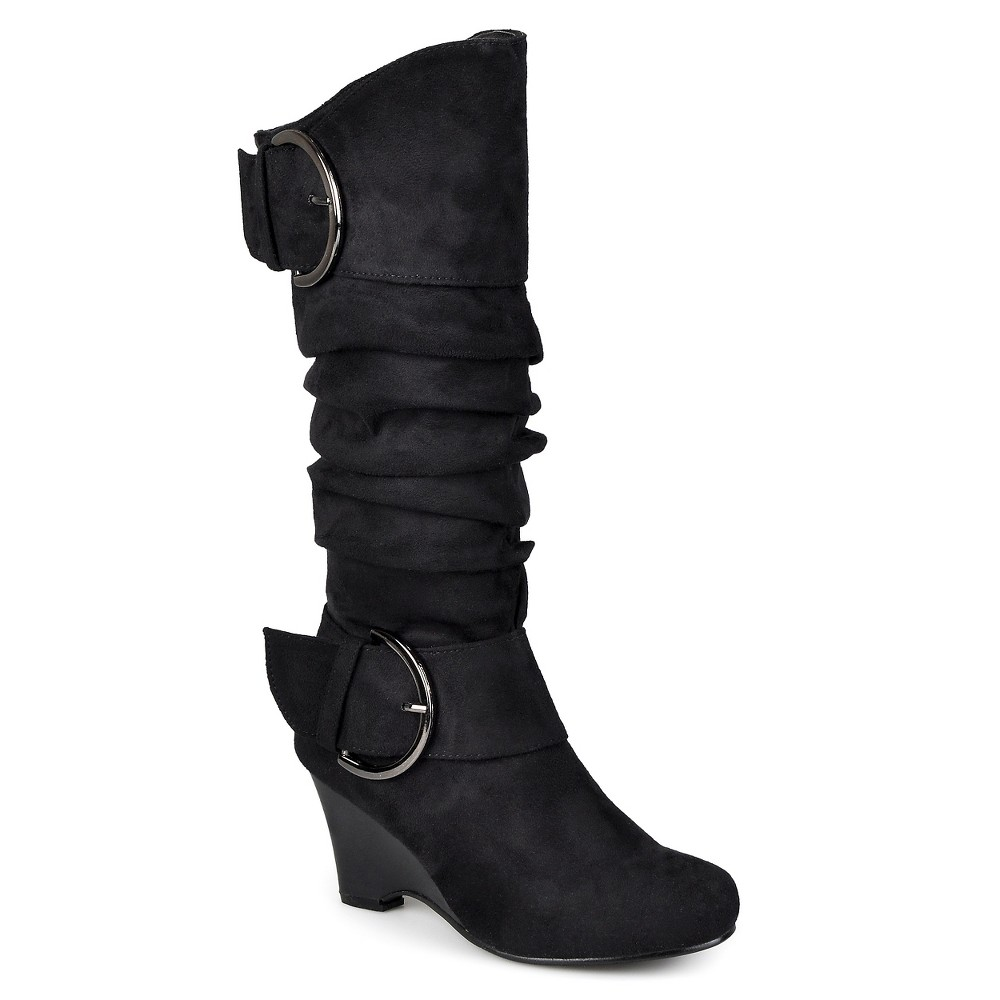 Womens Journee Collection Wide Calf Buckle Slouch Wedge Knee-High Boots - Black 8.5W, Size: 8.5 Wide Calf