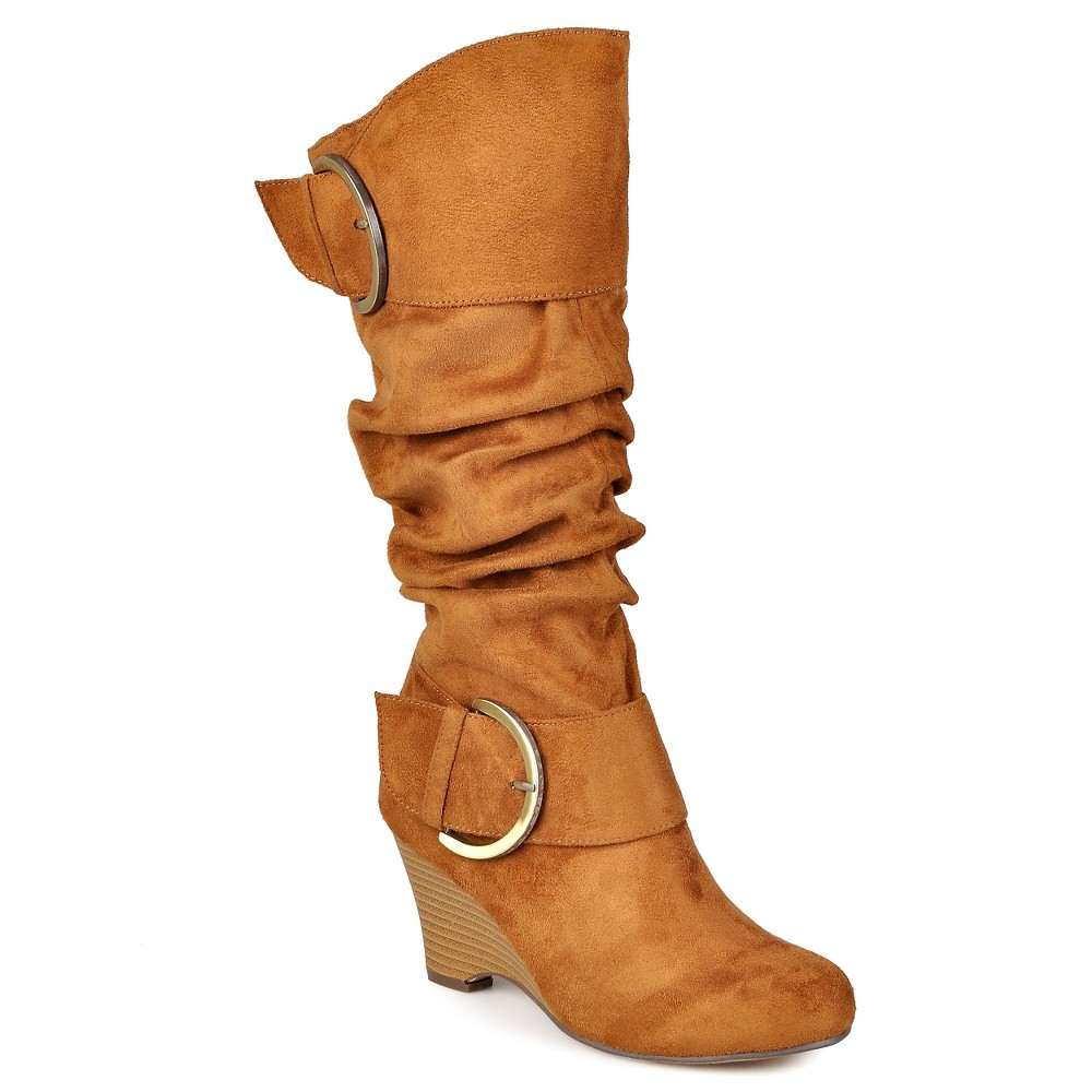 Womens Journee Collection Extra Wide Calf Buckle Slouch Wedge Knee-High Boots - Dark Chestnut 7 Extra Wide Calf