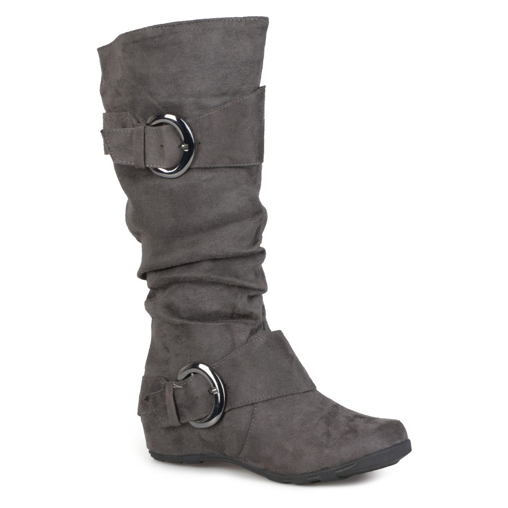 Womens Journee Collection Wide Calf Slouch Buckle Knee-High Microsuede Boots - Gray 8 Wide Calf