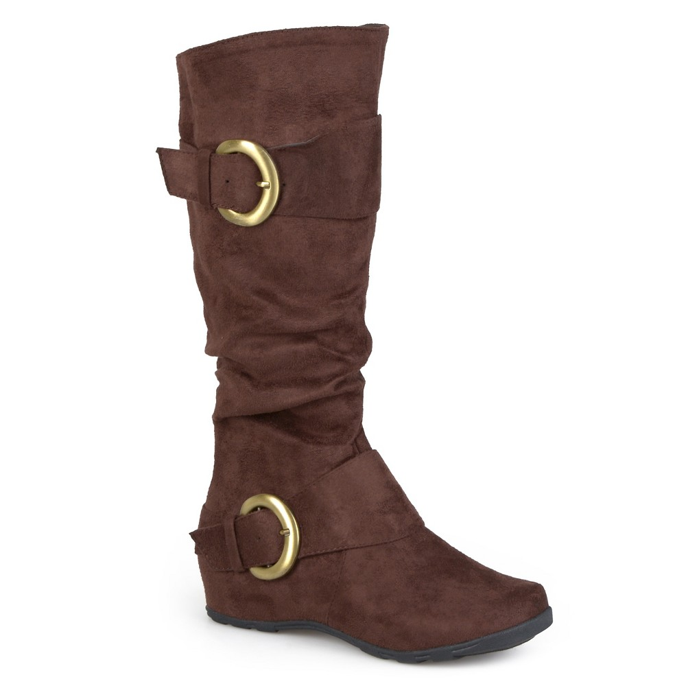 Womens Journee Collection Wide Calf Slouch Buckle Knee-High Microsuede Boots - Brown 7 Wide Calf