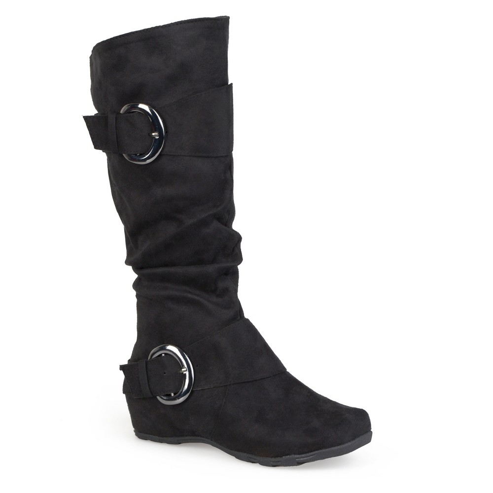 Womens Journee Collection Wide Calf Slouch Buckle Knee-High Microsuede Boots - Black 7.5 Wide Calf