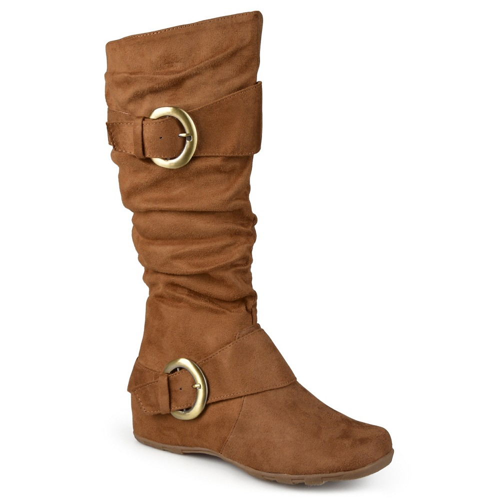 Womens Journee Collection Wide Calf Slouch Buckle Knee-High Microsuede Boots - Camel 8.5 Wide Calf