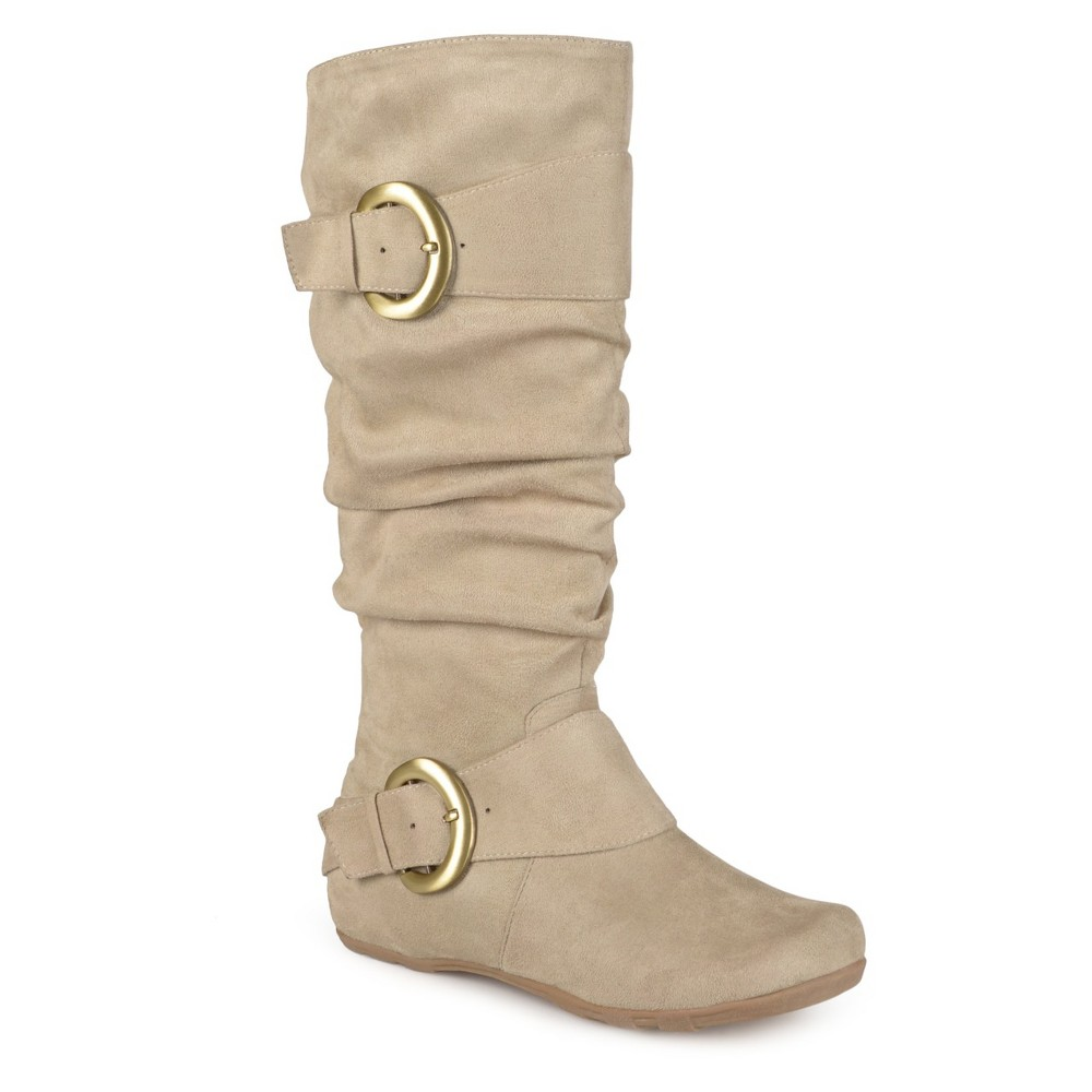 Womens Journee Collection Wide Calf Slouch Buckle Knee-High Microsuede Boots - Stone (Grey) 9.5 Wide Calf