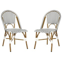 Salcha 2pc All Weather Wicker Indoor/Outdoor Stacking Side Chair - Black/White - Safavieh