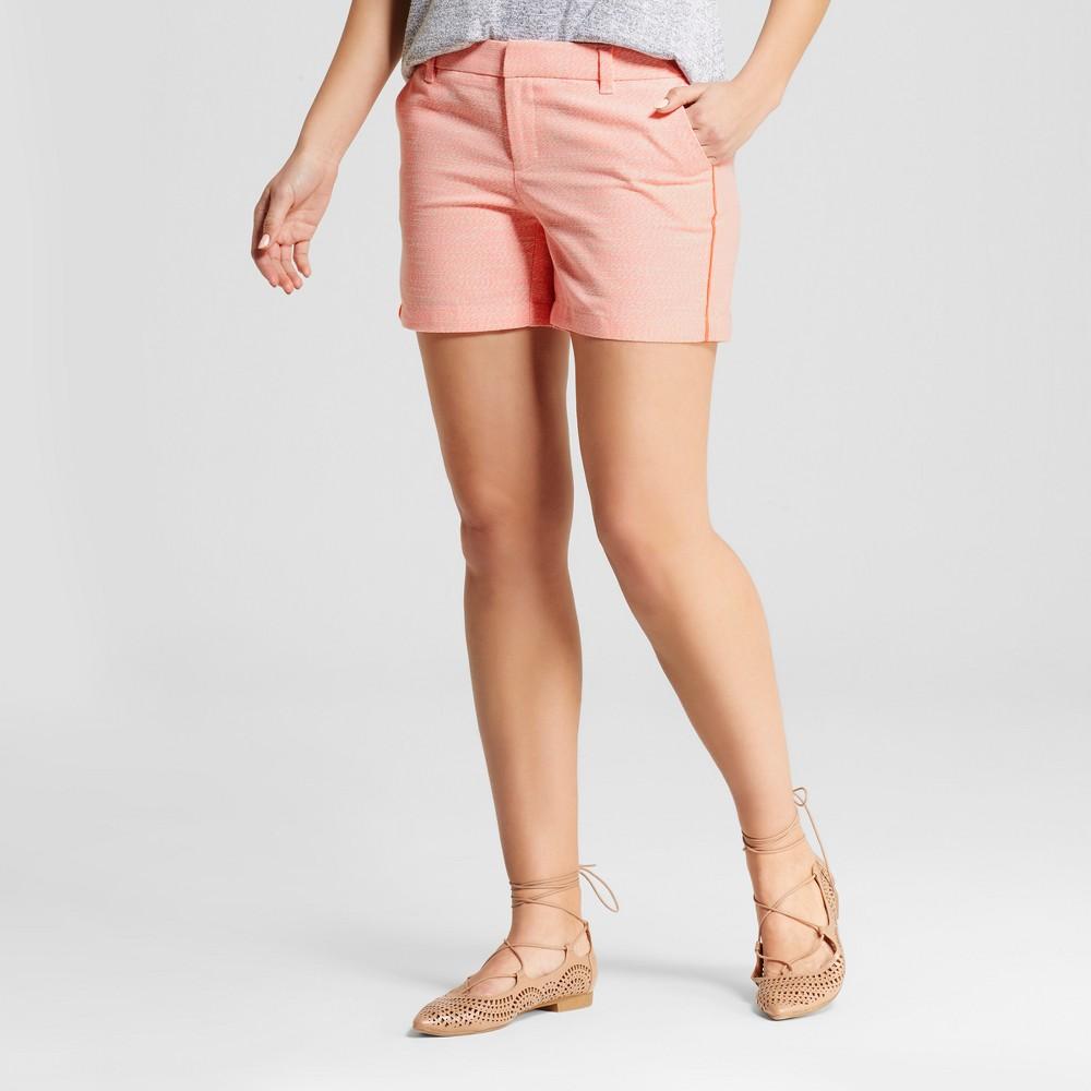 Womens 5 Neon Texture Chino Shorts - Merona Neon Orange 12