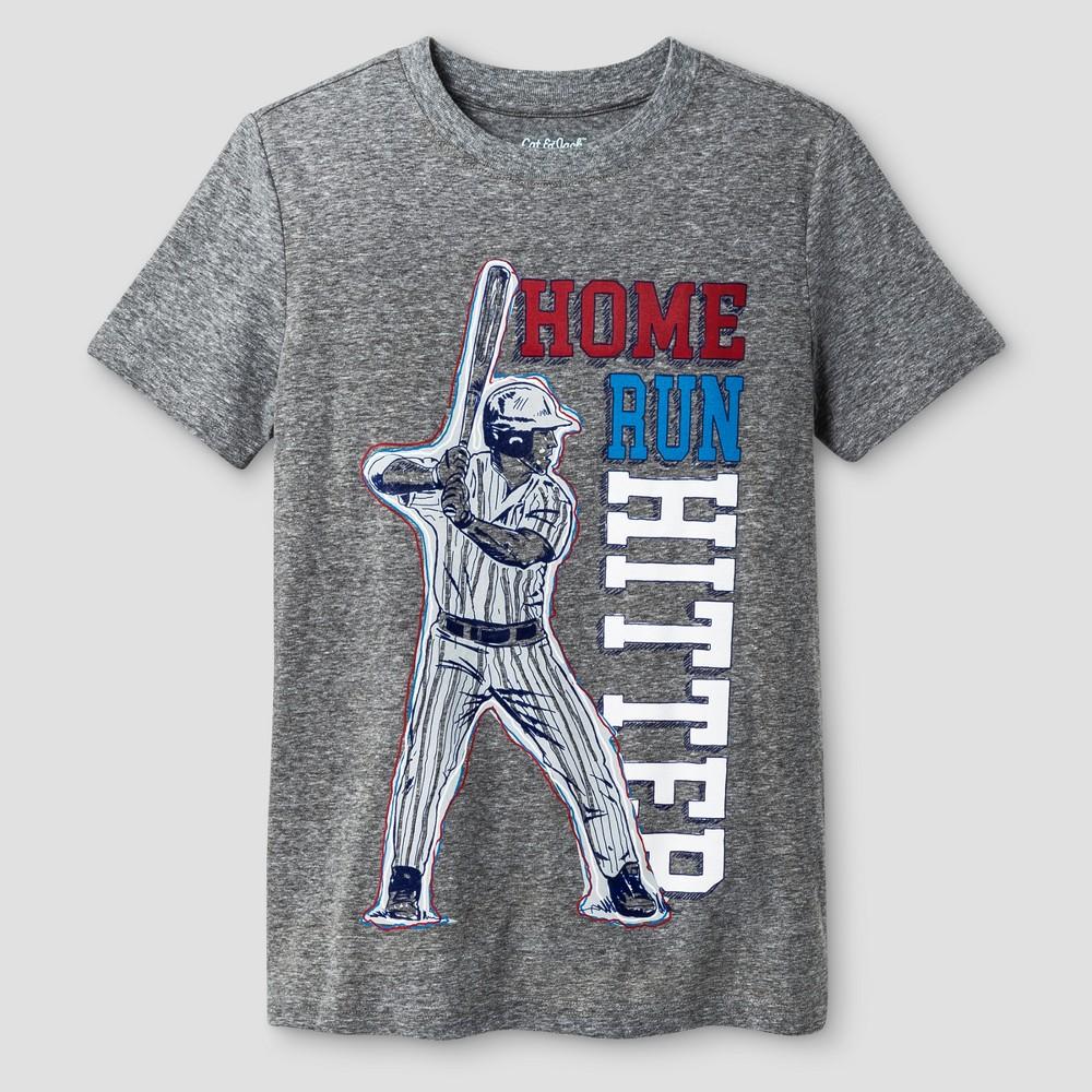 Boys T-Shirt Baseball - Cat & Jack Charcoal Heather XL, Gray
