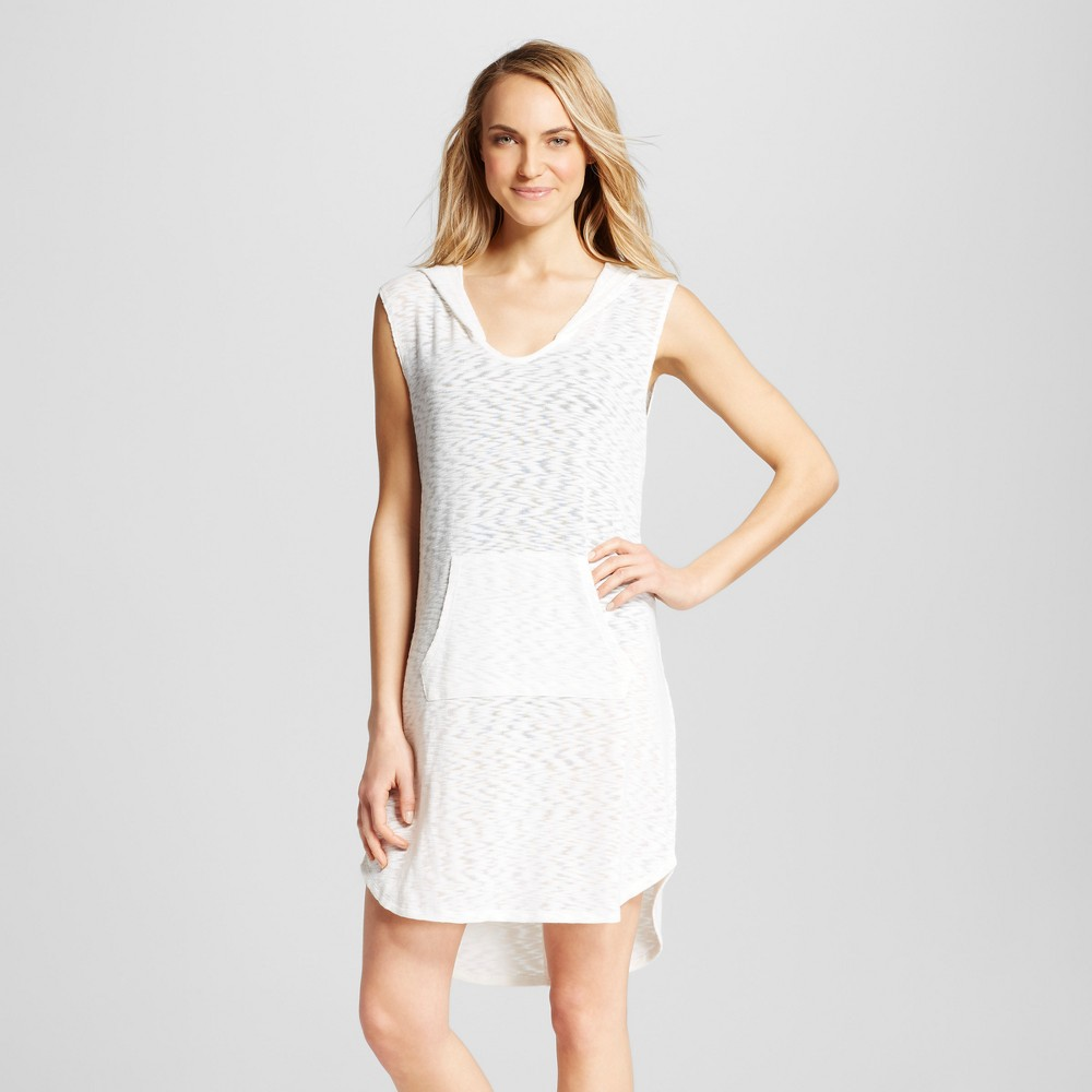 Womens Sleeveless Hooded Cover Up Dress - Sour Cream - XS - Merona