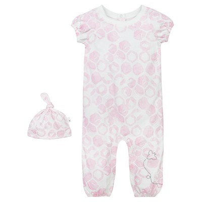 Baby Girls' Organic Watercolor Hive Coverall and Hat Set Multi 3-6 M - Burt's Bees Baby®
