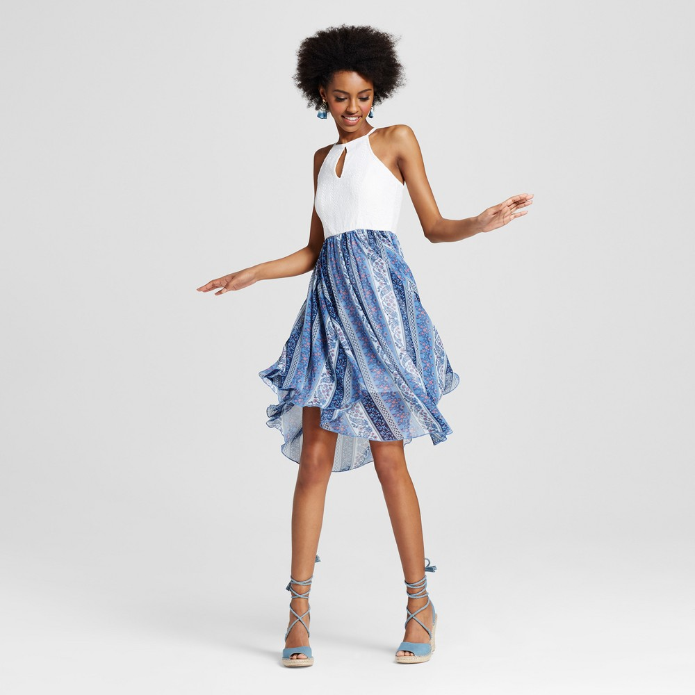 Women's Halter Printed Skirt Dress Navy L - Almost Famous (Juniors'), Blue