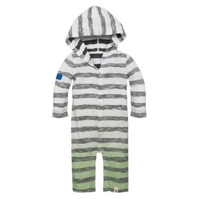 Baby Boys' Organic Slub Jersey Reverse Stripe Dip Dye Hooded Coverall Cloud 6-9 M - Burt's Bees Baby®