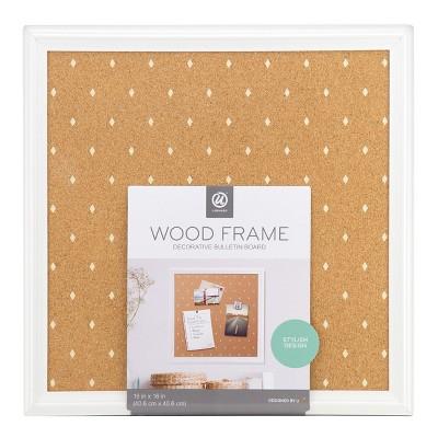 Ubrands® Cork Bulletin Board White Frame with Diamonds