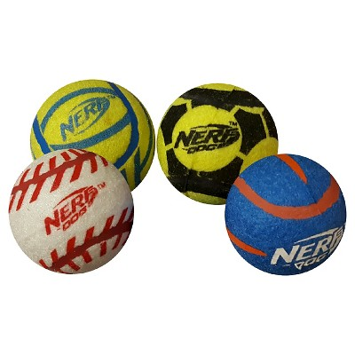 NERF® 4pk Sports Balls Dog Toy - Blue/Green
