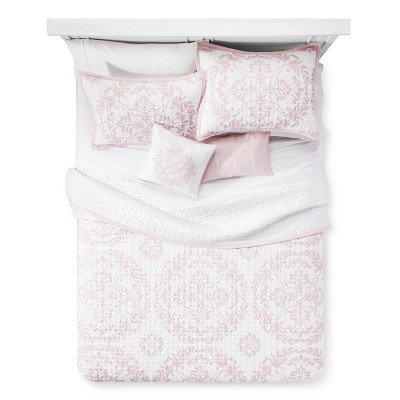 Blush Dominique Medallion Microfiber Quilt Set (King)5pc