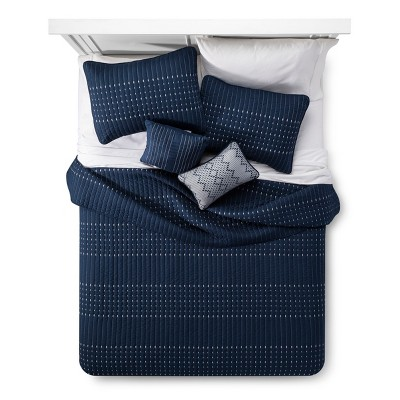 Navy Blake Microfiber Embroidered Multiple Piece Quilt Set (Queen)- 5-pc