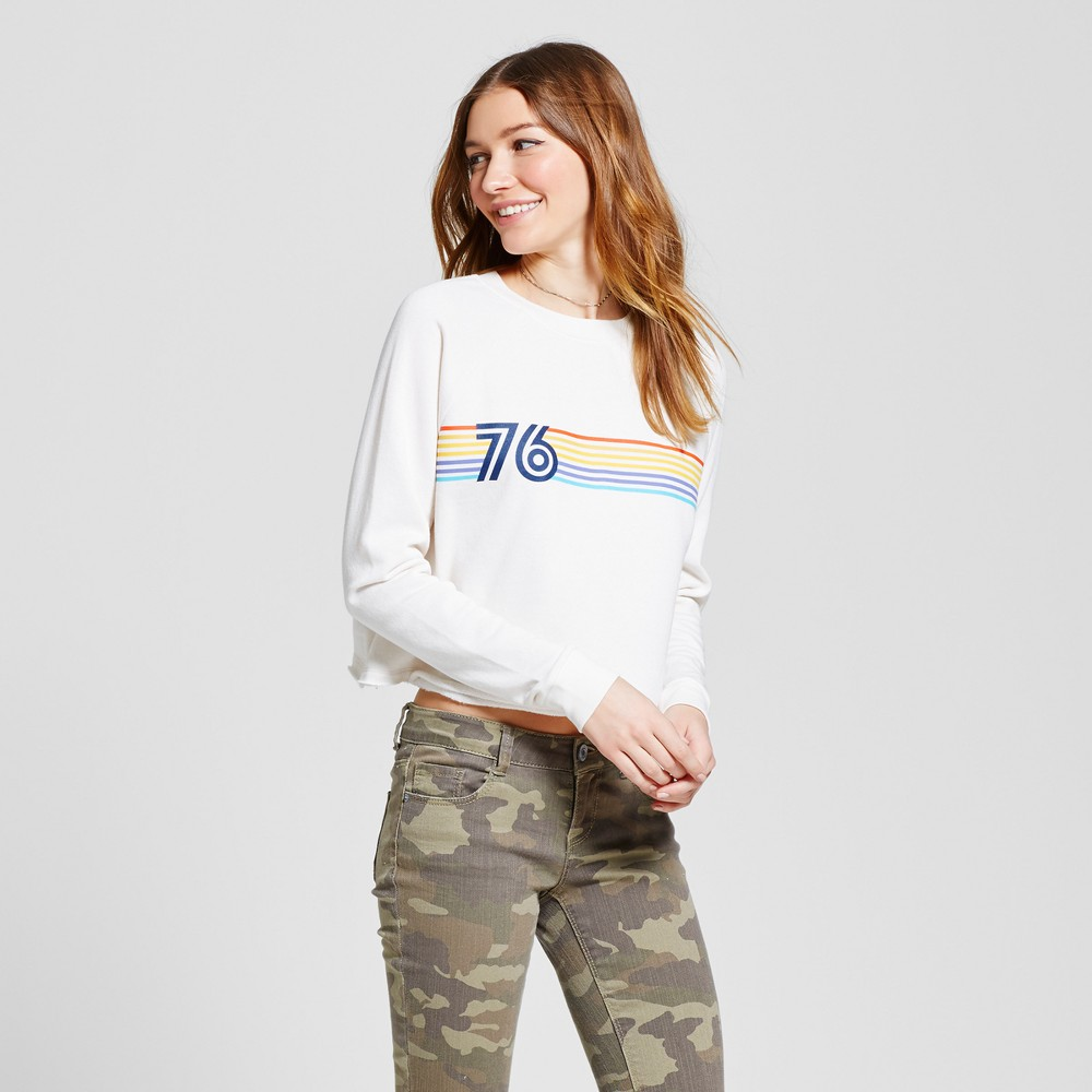 Womens Cropped Crew Sweatshirt - Mossimo Supply Co. Cream with Graphic L