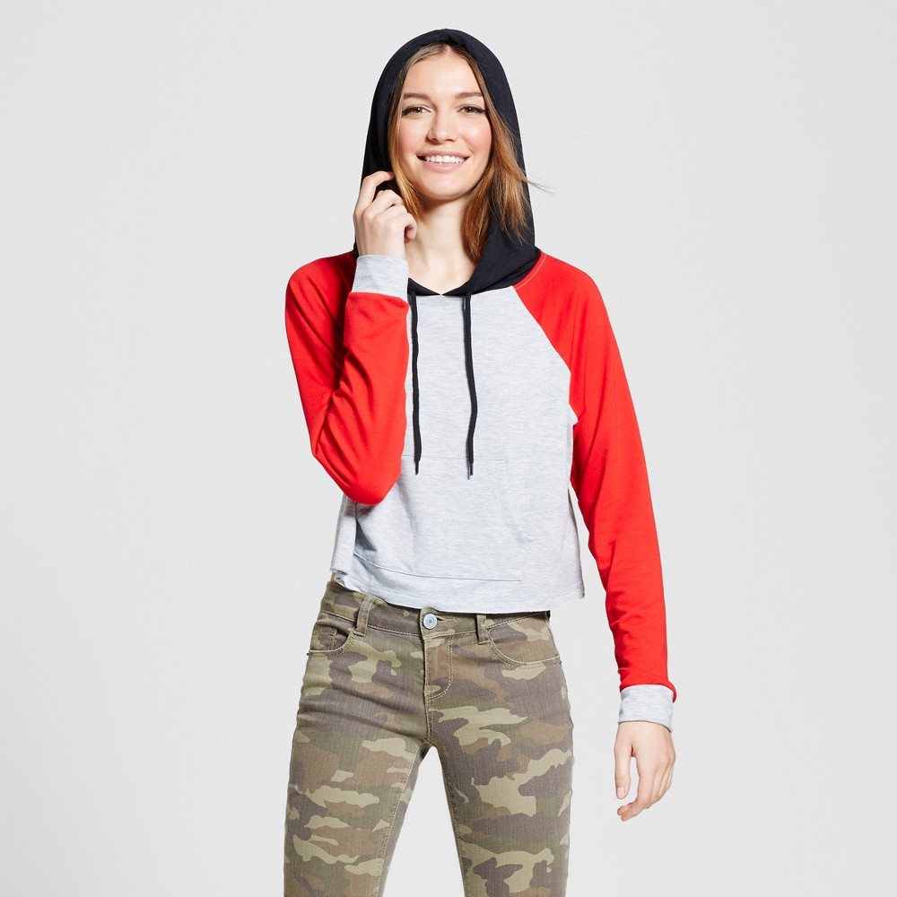 Womens Crop Hoodie - Mossimo Supply Co. Gray with Red Xxl