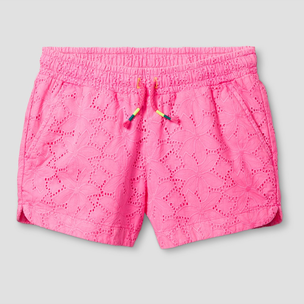 Girls Eyelet Texture Fashion Shorts - Cat & Jack Pink Xxl