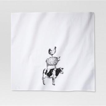Farm Animal Flour Sack Kitchen Towel White - Threshold™