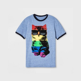 Pride Adult Short Sleeve Rainbow Cat Ringer Gender Inclusive T-Shirt - Sky Blue