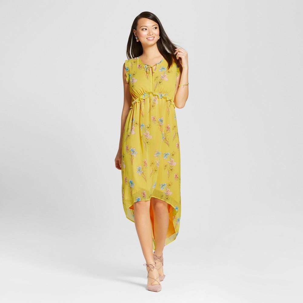Women's Floral Ruffle Maxi Dress - Merona Yellow Floral Xxl