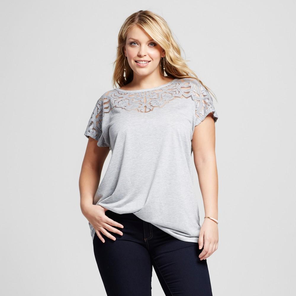 Women's Plus Size Cold Shoulder Burnout T-Shirt - Ava & Viv Light Gray Heather X, Light Grey Heather