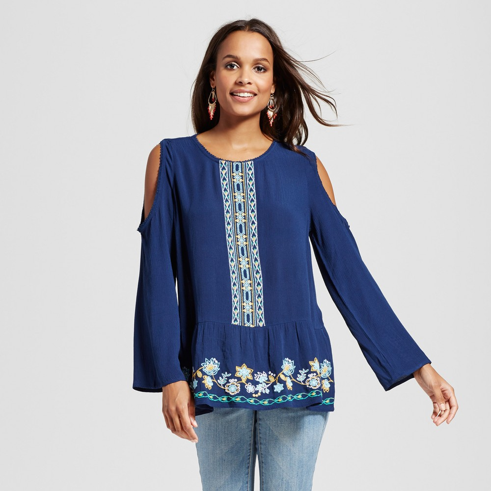 Women's Long Sleeve Cold Shoulder Embroidered Top – Navy Combo XL – JohnPaulRichard, Blue