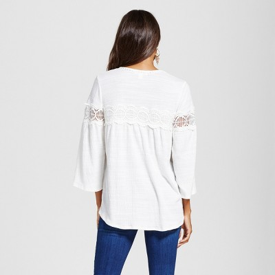 Women's V-Neck Lace Inset Peasant Top - Ivory S - JohnPaulRichard, White
