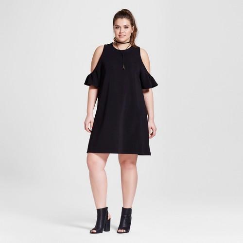 Women's Plus Size Textured Cold Shoulder Dress Black 1X - 3Hearts