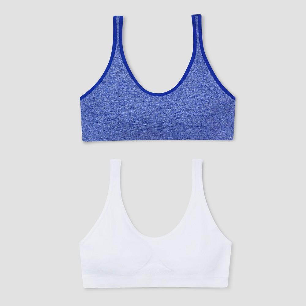 Girls Hanes Red Label Bras - XL, Blue/White