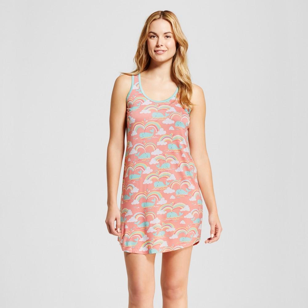 Womens Nite Nite By Munki Munki Rainbow Whale Jersey Scoop Neck Cap Sleeve Nightshirt - Coral S, Pink