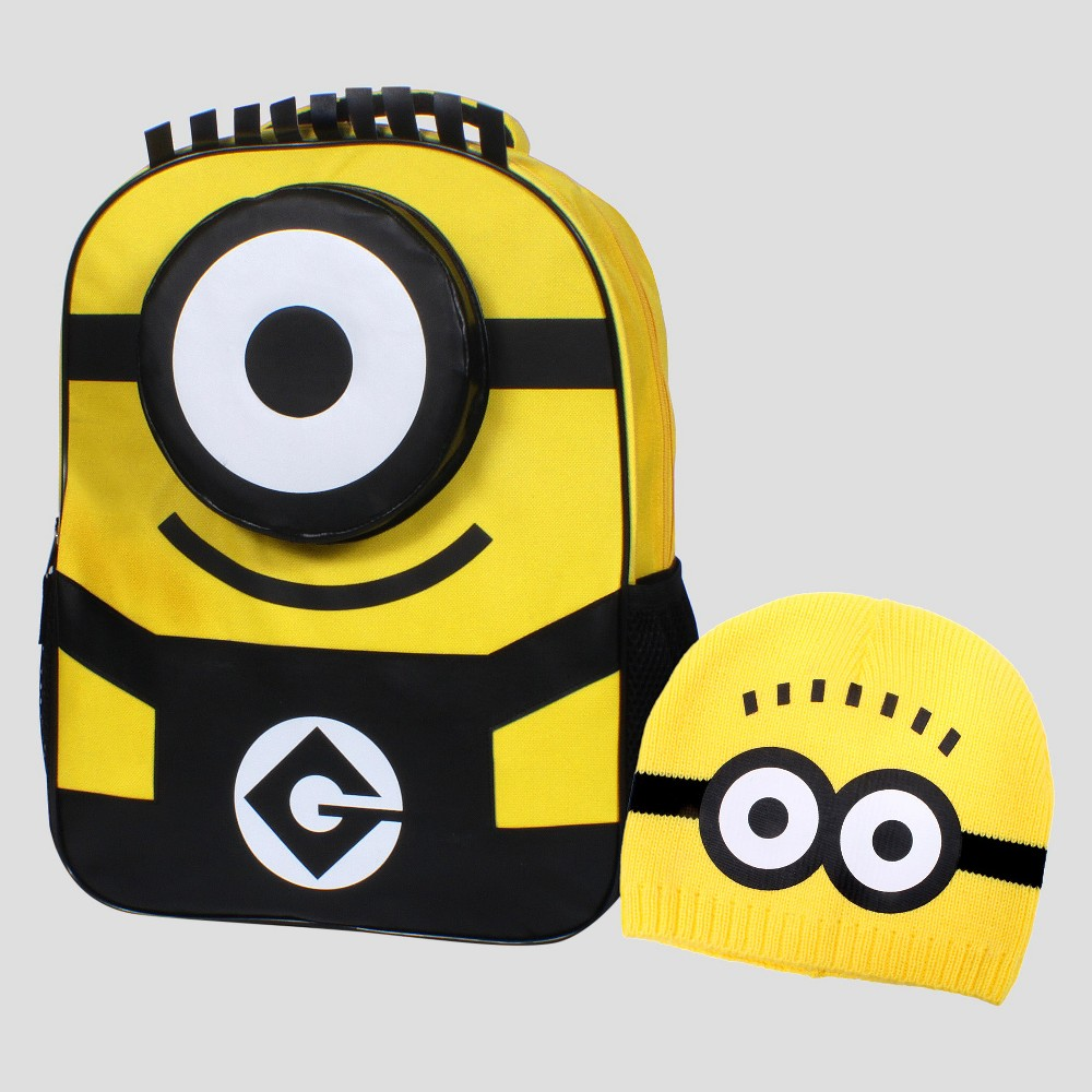 Despicable Me 16 One Eye Minion Backpack with Beanie - Yellow/Black