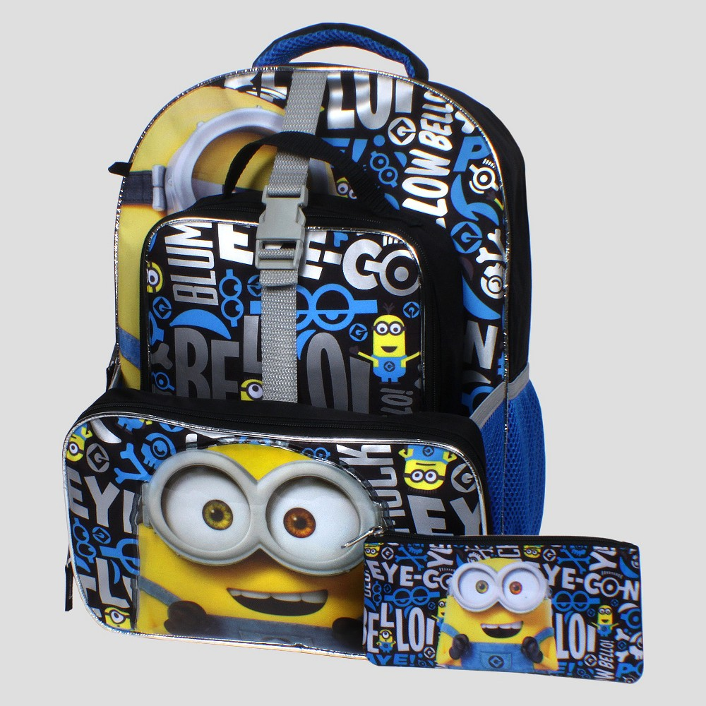 Despicable Me Eye-Con 16 Backpack with Detachable Lunch Tote, Black