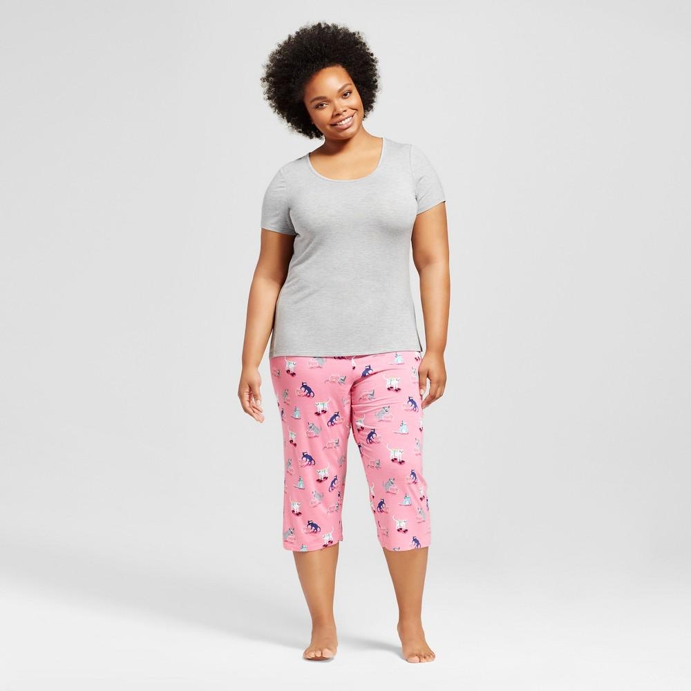 Nite Nite Munki Munki Womens Plus Size Pajama Set - Pink/Scuba Cats 1X