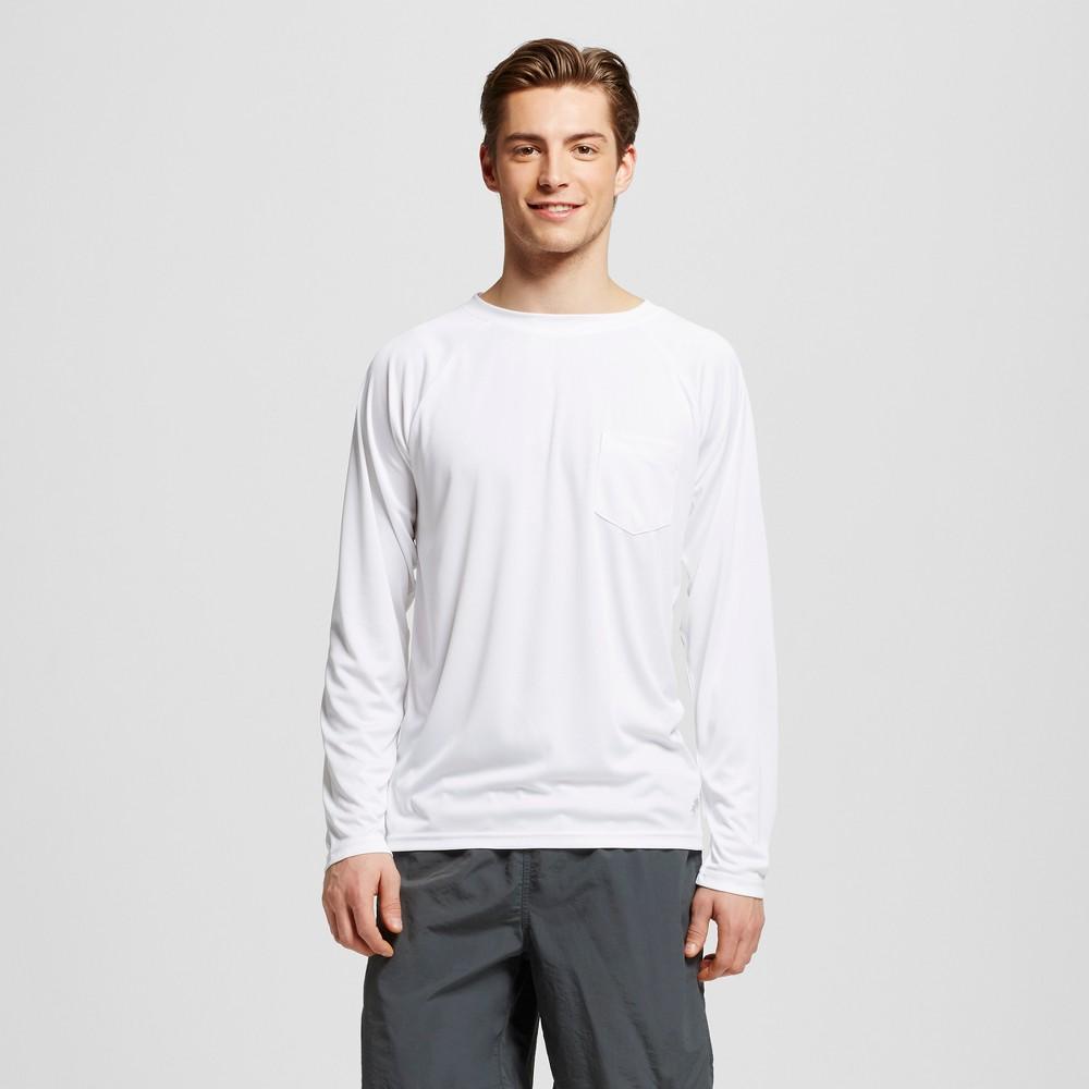 Mens Long Sleeve Pocket Swim Tee White Xxl - Trunks Surf & Swim