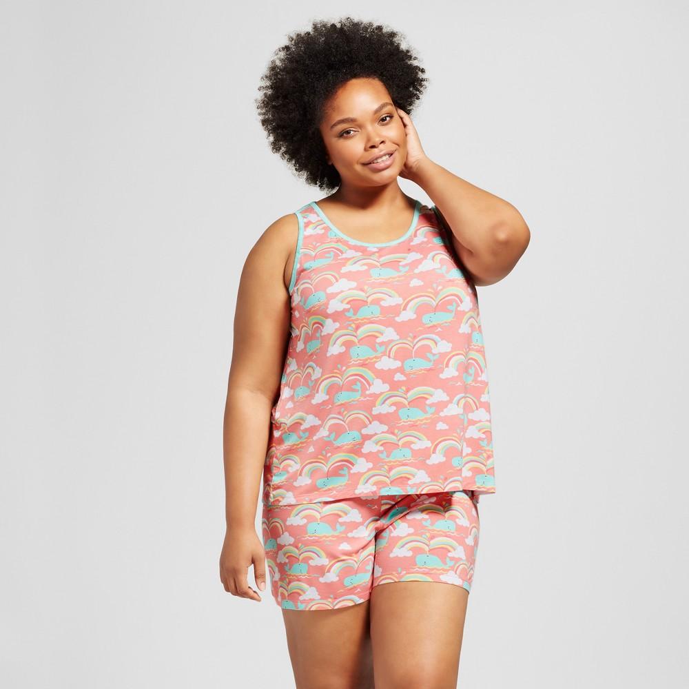 Nite Nite Munki Munki Womens Plus Size Pajama Set - Rainbow Whale/Coral 2X, Pink