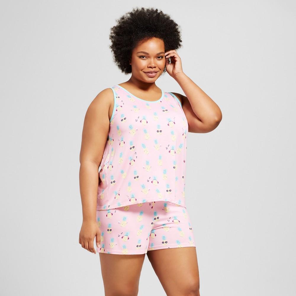 Nite Nite Munki Munki Womens Plus Size Pajama Set - Pineapple/Light Pink 3X