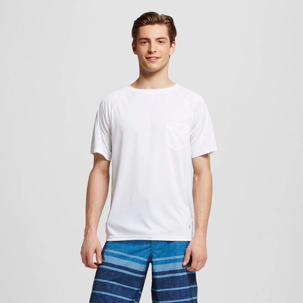 Mens Short Sleeve Pocket Swim Tee White M - Trunks Surf & Swim