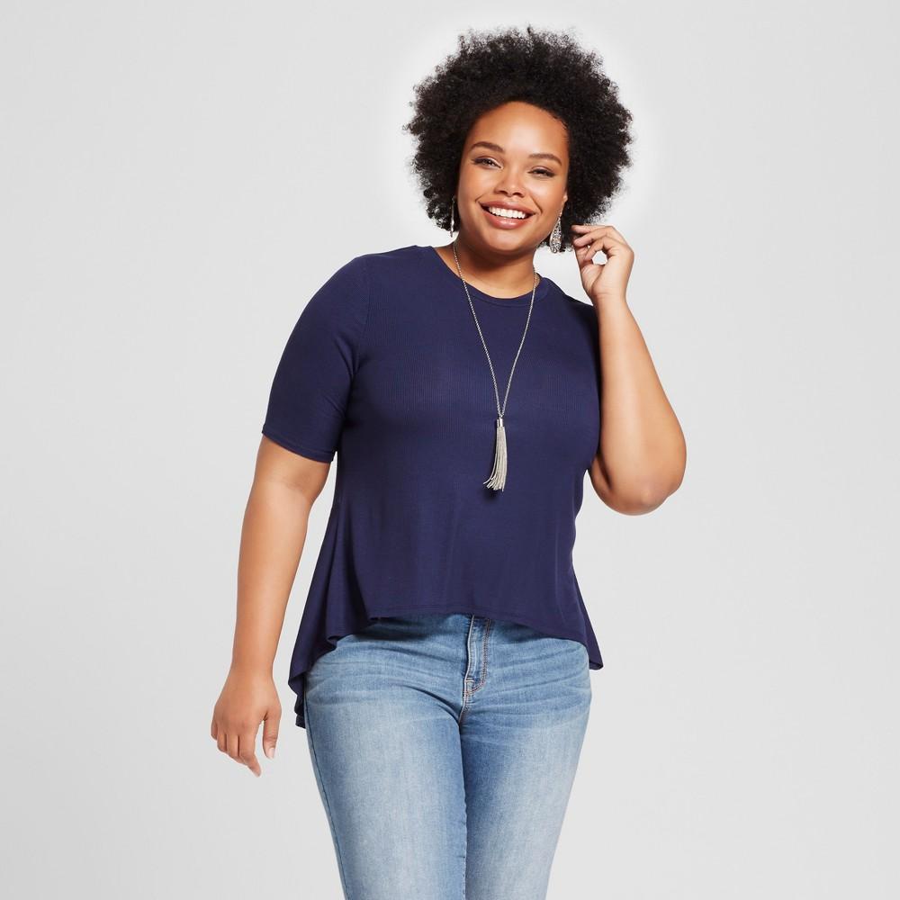 Womens Plus Size Rib Drapey T-Shirt - Ava & Viv Navy (Blue) 2X