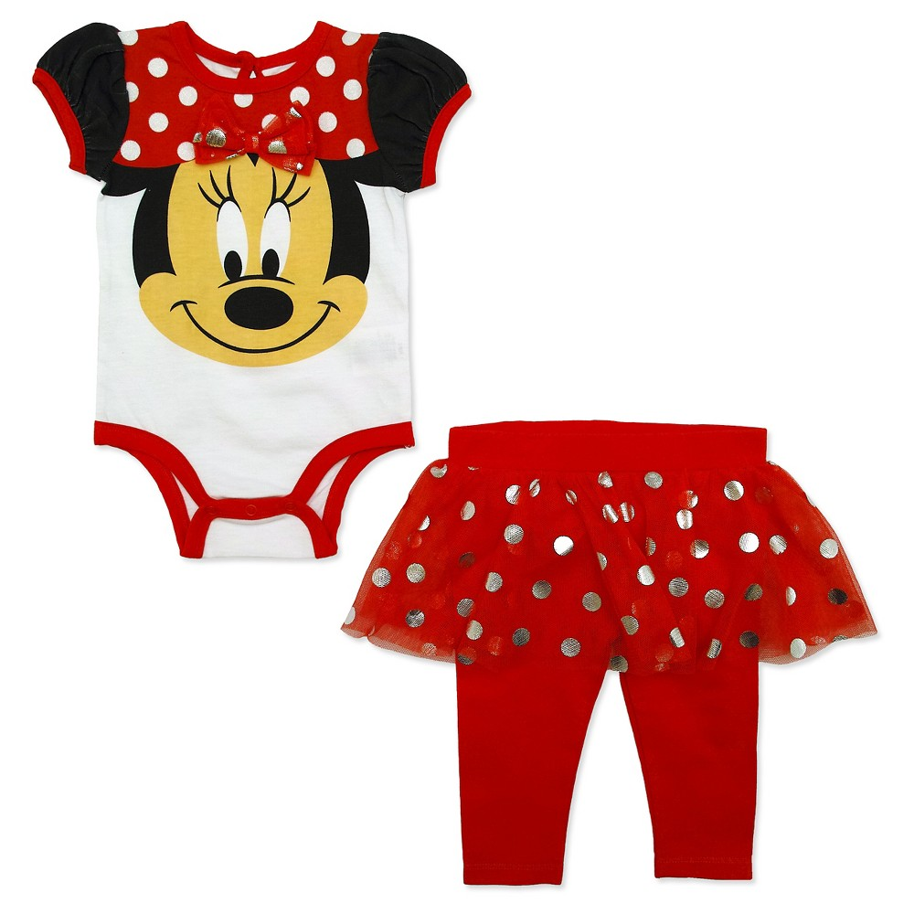 Minnie Mouse Baby Girls Bodysuit & Tutu Pants Set - Red 0-3M, Size: 0-3 M