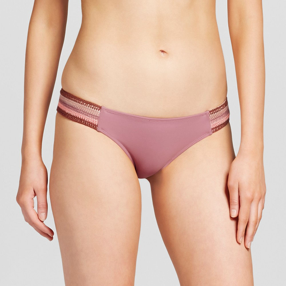 Womens Sun Rays Strappy Crochet Extra Cheeky Bikini Bottom - Shade & Shore Primrose M, Pink