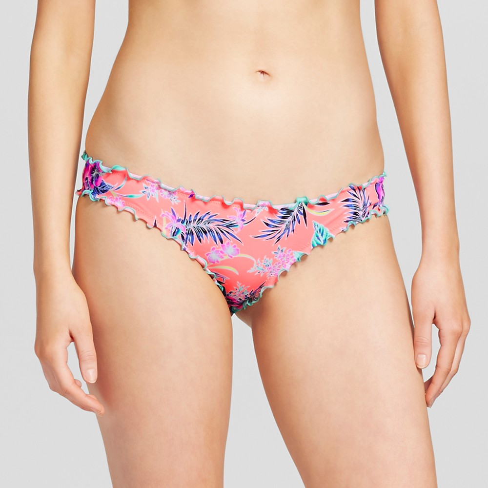 Womens Wave Ruffle Cheeky Bikini Bottom - Shade & Shore Coral Fire Tropical XS, Pink