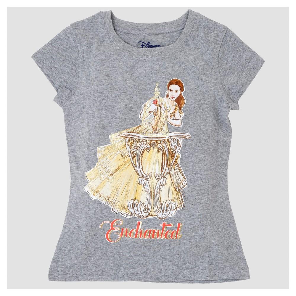 Girls Beauty and the Beast Belle Short Sleeve T-Shirt - Heather Gray XL, Size: XL(14-16)
