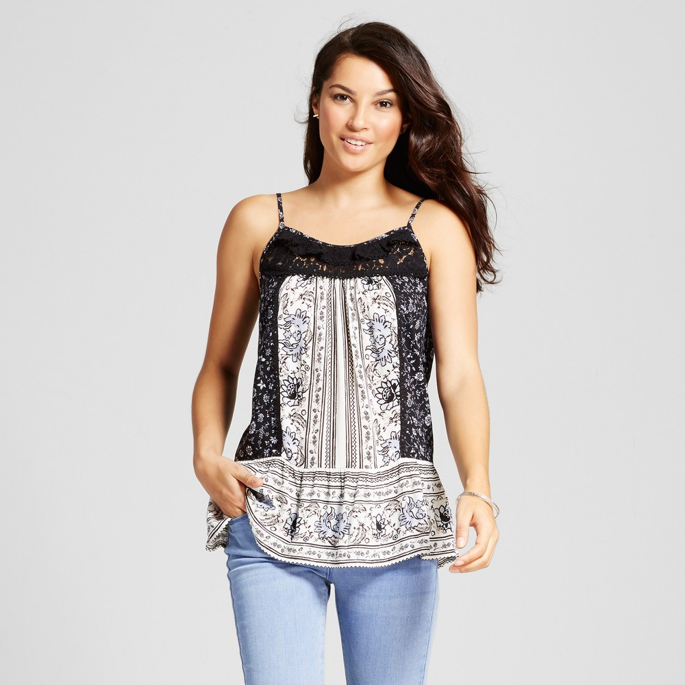 Womens Mixed Print Peplum Tank with Lace - Knox Rose Black Print M